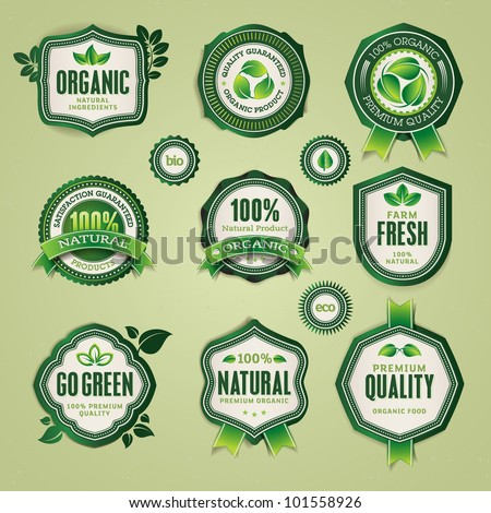 Set of organic and natural badges and labels - stock vector