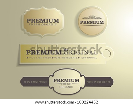 Set of Organic Badges - stock vector