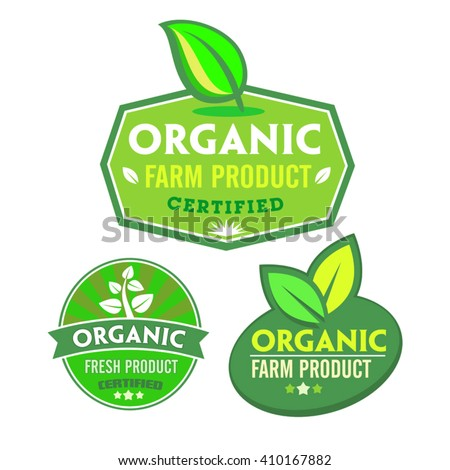 Set of organic-bio labels on the white background.