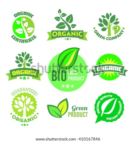 Set of organic-bio-natural icons on the white background.