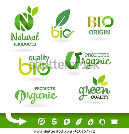 Set of organic-bio-natural  labels - stock vector