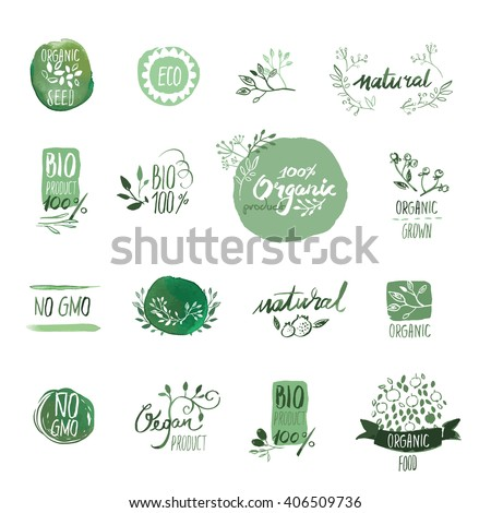 Set of organic food hand drawn watercolor badges and elements. Vector illustrations for organic food and drink, restaurant and organic products. - stock vector