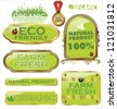 Set Of organic labels - stock photo
