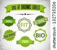 set of organic labels - stock vector