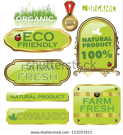 Set Of organic labels - stock vector