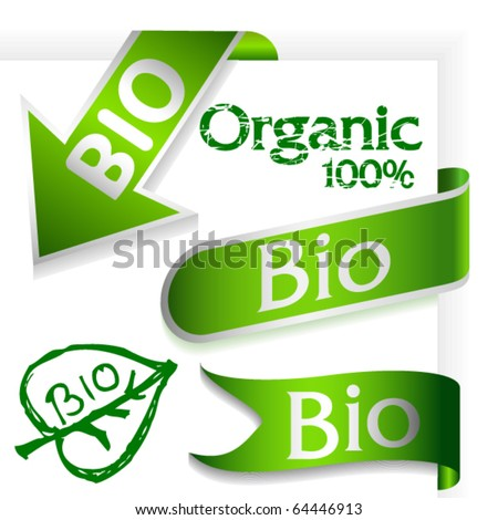 Set of organic ribbons and arrow with text Bio - stock vector