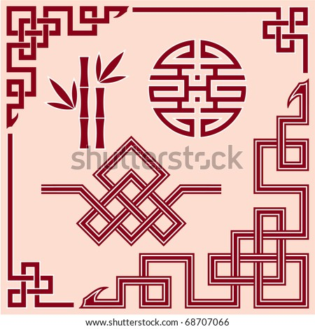 Set of Oriental Design Elements (border, corner, knot, bamboo)