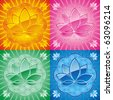 set of oriental pattern with lotus vector editable - stock photo