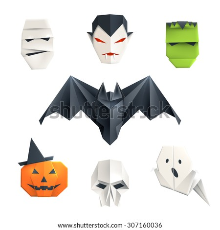 Set of origami Halloween characters: mummy, vampire, zombie, bat, pumpkin, skull and ghost. Isolated on white vector illustration, eps10. - stock vector