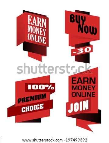 Set of origami labels depicting Earn Money On-line, Buy Now and Premium Choice in red isolated over white background