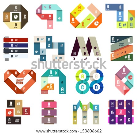Set of origami modern design templates and elements
