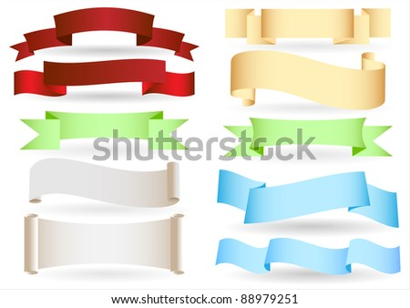 Set of origami ribbons and banners.Vector text box. - stock vector