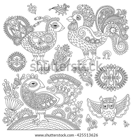 set of original black and white line art rooster drawing, page of coloring book bird joy to older children and adult colorists, who like line art and creation, vector illustration - stock vector