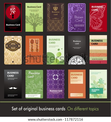 Set of original business cards on different topics - stock vector
