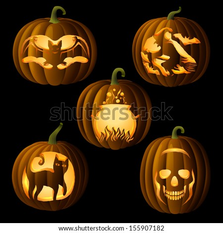 Set of original Jack O Lanterns, with halloween symbols cut on pumpkin, detailed illustration, EPS 10, contains transparency. - stock vector