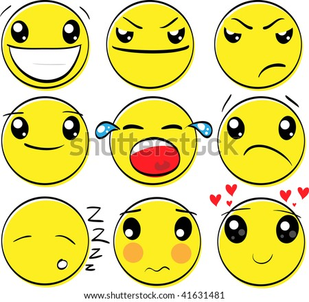 Set of original smiley cartoon emotion faces - stock vector