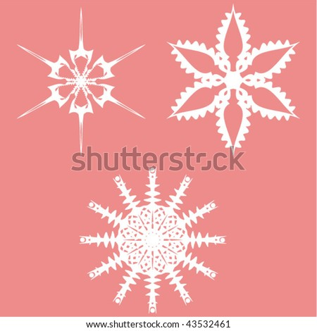 set of original snowflakes for your design - stock vector