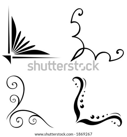 Set of original vector corner ornaments. This is a vector image - you can simply edit colors and shapes. - stock vector