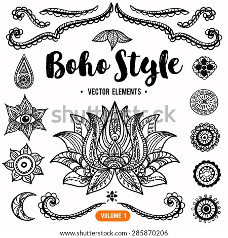 Set of Ornamental Boho Style Elements. Vector Drawing. Anti stress colouring elements - stock vector