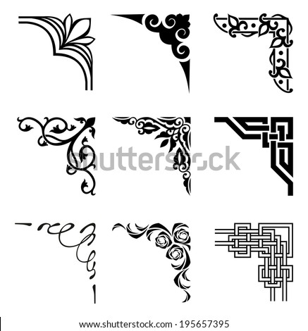 Set Ornamental Corners Different Style Stock Vector 195657395