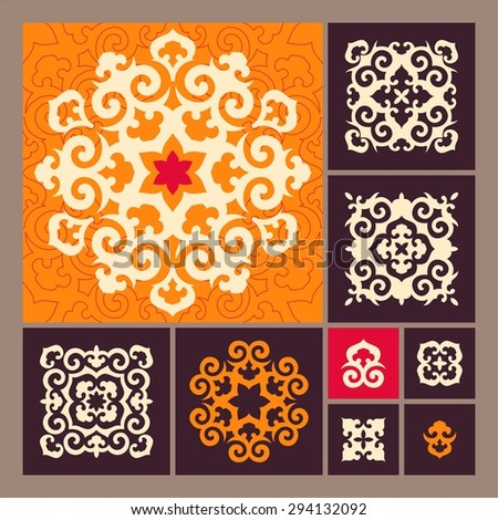 Set of ornamental elements in oriental style. Islam, Arabic, Asian motifs. Mandala forms. Square patterns. Decorative details for ornaments - stock vector
