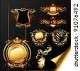 set of ornamental golden heraldic elements - stock vector