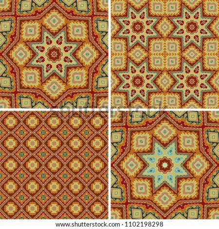 Set Ornamental Mosaic Patterns Oriental Style Stock Vector ...