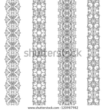 Set of ornamental ribbons. Seamless pattern stripe - stock vector