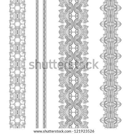 Set of ornamental ribbons. Seamless pattern stripe. Silhouette - stock vector