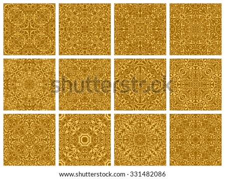Set of 12 ornamental seamless wallpaper pattern  - stock vector