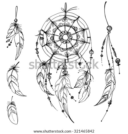 Colorful beads stock images royalty free images vectors for Indian feathers coloring page
