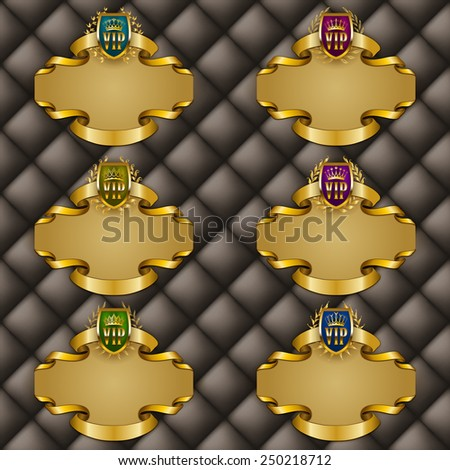 Set of ornate luxury vintage frames with crowns, shields, ribbons for design invitations, greeting, vip, gift cards, labels with place for text. Vector illustration EPS 10 - stock vector