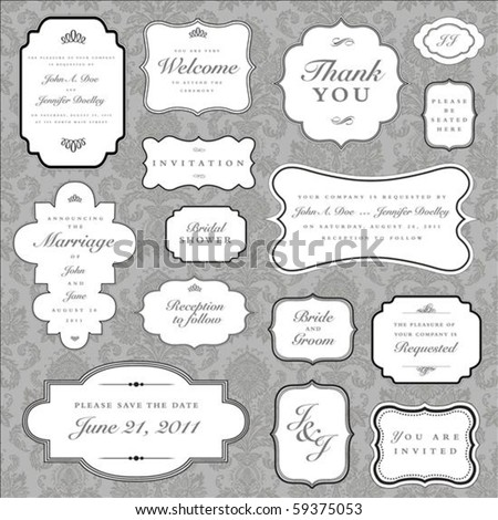Set of ornate vector frames and ornaments with sample text. Perfect as invitation or announcement. All pieces are separate. Easy to change colors and edit. - stock vector