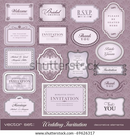 Set of ornate vector frames and ornaments with sample text. Perfect for classical invitation or announcement cards.