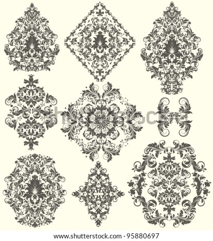 Set of ornate vector ornaments - stock vector