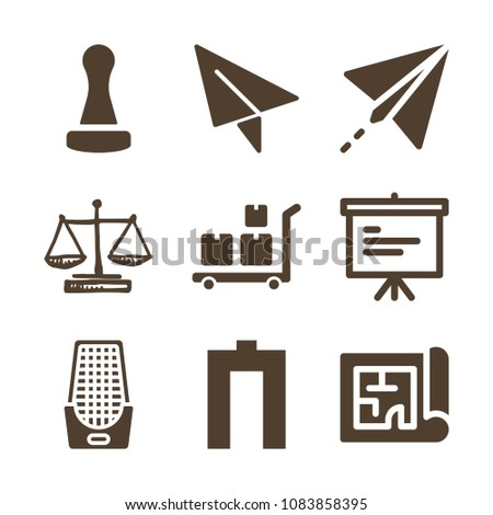 Set 9 other filled icons such stock vector 1083858395 shutterstock set of 9 other filled icons such as wooden stamper paper plane message malvernweather Choice Image