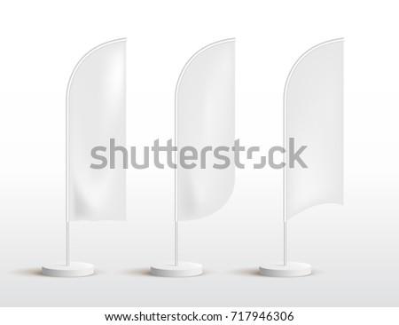 sharkfin banner template - white waving flag template clean horizontal stock vector