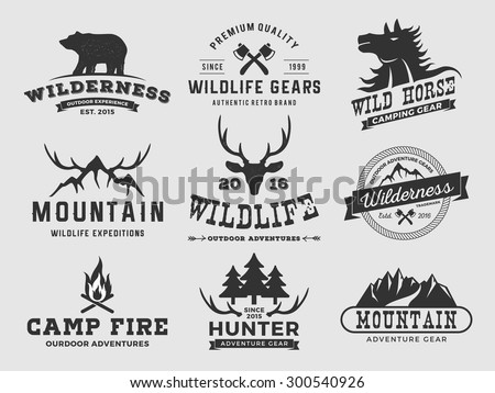 Set of outdoor wilderness adventure and mountain badge logo, emblem, label design | Vector illustration resize-able and free font used - stock vector