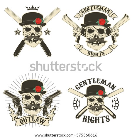 Set of outlaw t-shirt print design templates. Skull with mustache and hat. Vector design elements for label, logo, emblem, poster, t-shirt print template. - stock vector