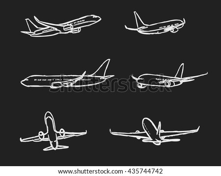 set of outline chalk airplanes  - stock vector