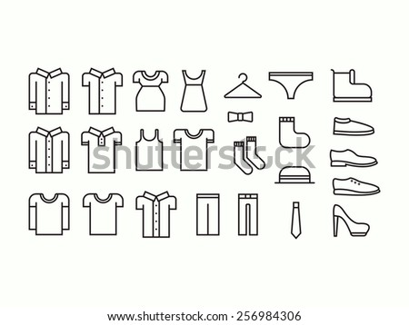 Set of outline clothes icons - stock vector