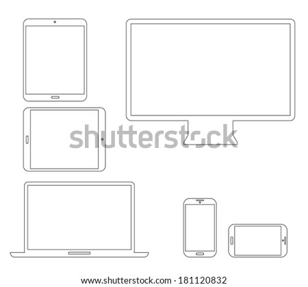Set of outline electronic devices. Laptop, tablet, smartphone and computer vector illustrations. - stock vector