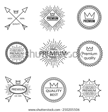Set of outline emblems premium best quality crown design - stock vector