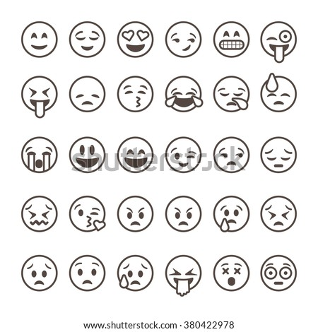 Set of outline emoticons emoji isolated on white background vector illustration