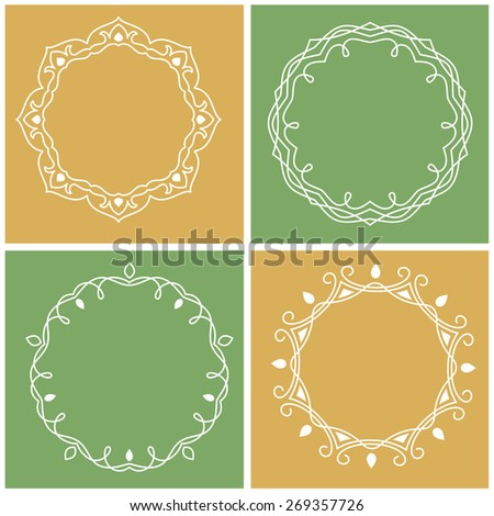 Set of outline frames with copy space - stock vector