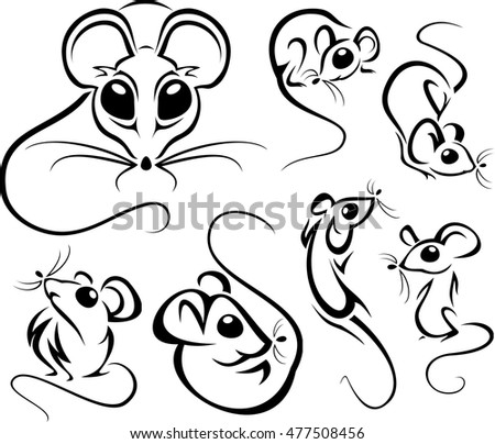 Set of outline funny mice. Vector illustrations.