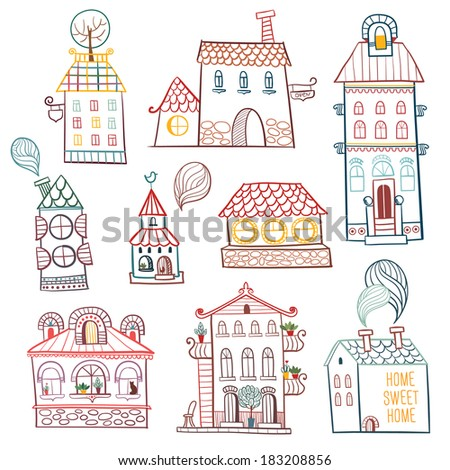 set of outline hand drawn buildings. Vector illustration. - stock vector