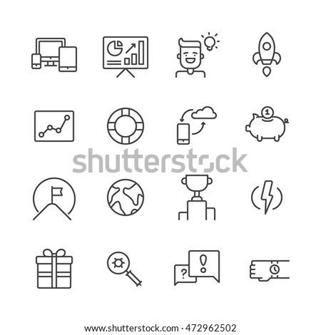 Set of outline icons for business startup and development