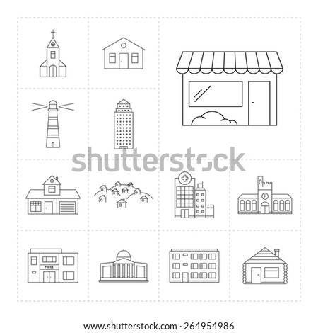 Set of outline icons  with different buildings - stock vector