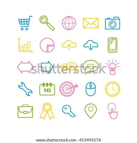 Set of outline Search Engine Optimization icons. Linear SEO icons for web, mobile apps design